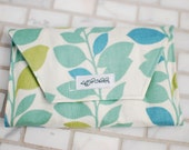 Crayon Clutch in Blue & Green Leaf Pattern- MULTIPLE FABRICS AVAILABLE