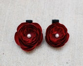 Burgundy Ranunculus Flower Hair Clip with Rhinestone Center- Large