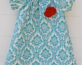 Adorable Short Sleeve Peasant Dress in Aqua Damask...Sizes 0-3 months to 3T...YOU PICK FABRIC- Custom Made