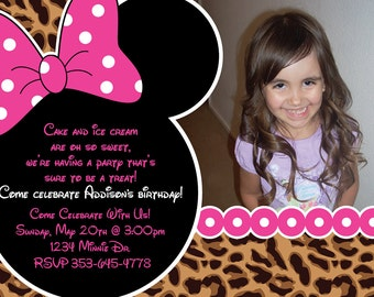 Minnie Mouse Cheetah or Leopard Print Birthday Party Custom Invitation OR Thank you card Very Cute