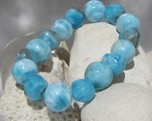 Larimar stretch bracelet - Ocean Reef, superb Caribbean turquoise mixed beads - 187.0 ct