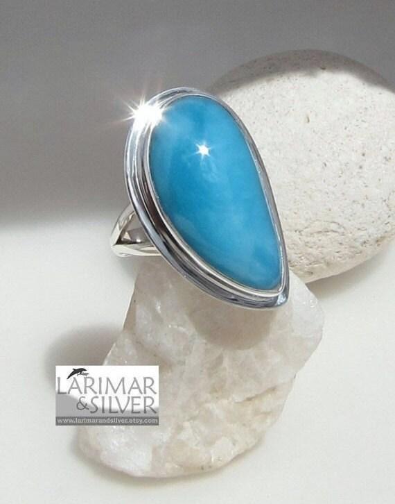 Larimar teardrop ring size 9 - Luxury Blue, beautiful AAA turquoise blue Larimar gem