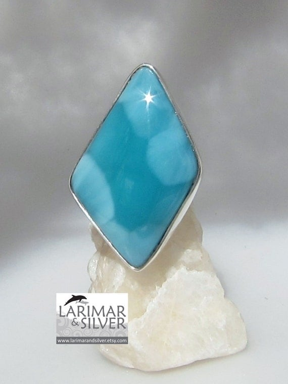 Larimar cocktail ring, Teal of Diamond - impressive AAA aqua teal Larimar stone - US 7.25