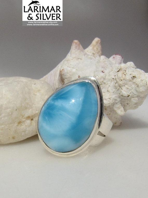 Larimar teardrop ring size 6 3/4 - Blue Fairy, wonderful wing pattern sky blue Larimar gemstone