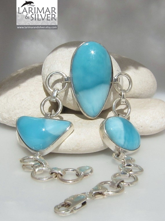 Larimar bracelet, Dolphin Dreams - superb turquoise blue Larimar matched gemstones
