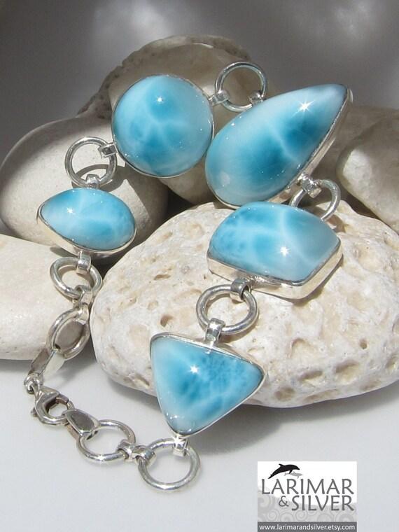 Larimar AAA bracelet, Underwater Quest - gorgeous pool pattern turquoise blue Larimar matched gemstones