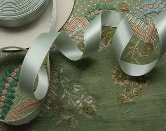 one yard vintage French shimmery aqua satin ribbon rayon trim  woven edge buttery soft millinery ribbonwork
