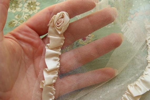 reserved-Amazing silk ribbonwork rosette silk tulle swag beaded glass panel trim