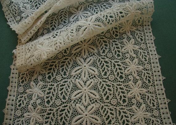 12x10 antique cotton schiffli lace intricate flower edwardian wedding doll dress fabric