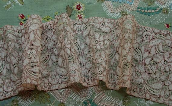 1 yard Flapper era vintage antique cotton lingerie  wide lace blush ecru trim alencon wedding