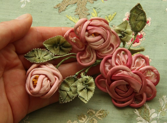 Antique silk ribbonwork ombre leaves millinery rose trim