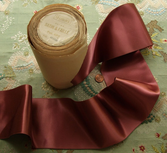 3/4 yard millinery  antique satin ribbon wide plum faille back
