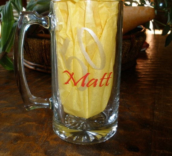 Items Similar To Personalized Beer Mug Vinyl 21st Birthday