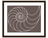 Nautilus Art Print - Nautical- Natural History -Nursery -Home Decor -Fossil Spiral - Brown Taupe French Roast - Sea Life - Wall Art