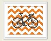 Bike Chevron Nursery Wall Art Print Modern Home Decor  Bicycle Orange Chevron