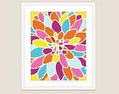 Dahlia Flower Art Print - Modern Flower Home Decor - Fiesta Colors - Abstract Flower Art