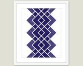 Mid Century Geometric Art Print - Modern Home Decor - Navy Blue - Wall Art - Diamond Shape - Retro Art