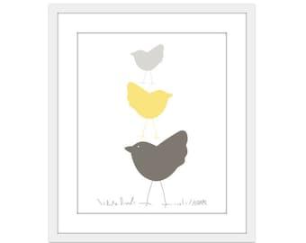 Birds Nursery Art Print - Baby Nursery Art Print - Yellow and Grey Taupe - Stack of Three Birds