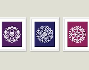 Mandala Art Print Set Wall Art Modern Home Decor Meditation Spiritual Circle - purple blue violet