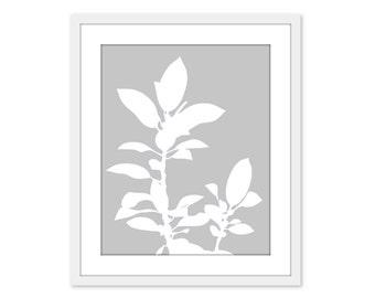 Botanical Digital Print Neutral Grey Modern Plant Nature Wall Art Home Decor