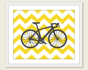 Bike Chevron Nursery Wall Art Print Modern Home Decor  Bicycle Yellow Citrine Grey