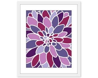 Purple Violet Dahlia Flower Art Print Wall Art Modern Home Decor Purple Tones