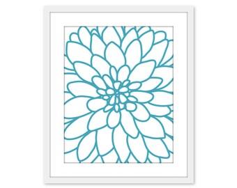 Turquoise Blue Dahlia Flower Print - Dahlia No.2 Print - Modern Flower Wall Art - Blue and White Flower Print - Aldari Art
