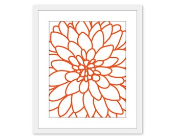 Dahlia Art Print - Dahlia Wall Art - Flower No.2 -  Art Print Wall Art - Modern - Home Decor - Tangerine Orange- Under 20