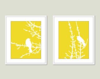 Birds and Branches - Digital Print Set - Yellow Lemon Zest - Modern Wall Art - Woodland -  Spring Summer Home Bird on Twig Decor
