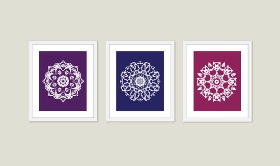 Mandala Art Print Set Wall Art Modern Home Decor Meditation Spiritual Circle - purple blue violet