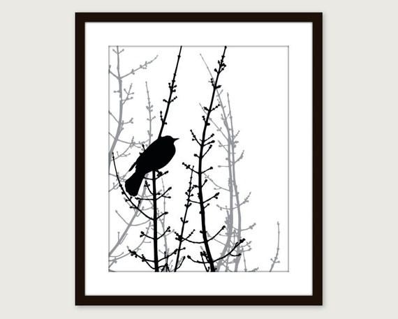 Black Bird on Twig Art Print - Modern Home Decor - Woodland Branches - Scandinavian Bird Art - Perched Bird Art