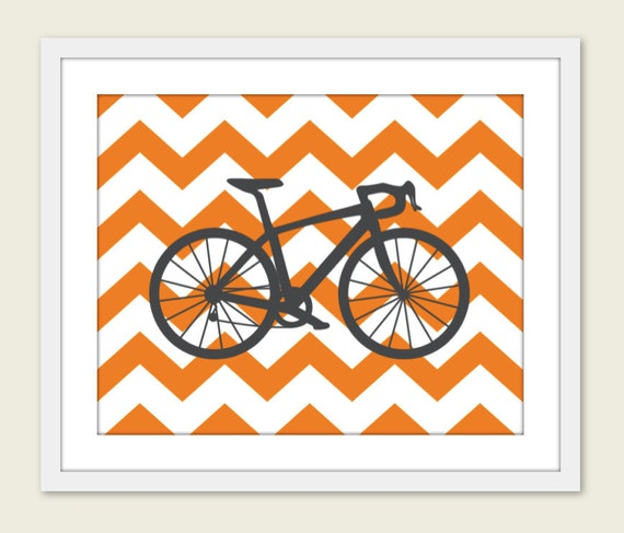 Bike Chevron Nursery Wall Art Print Modern Home Decor  Bicycle Orange Chevron