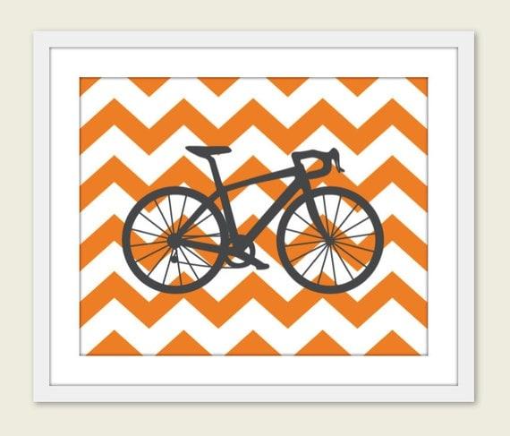 Bike chevron nursery wall art print modern home decor bicycle for Bicycle decorations home