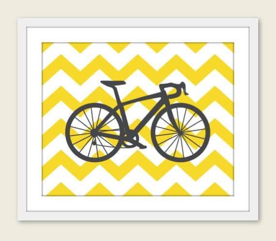 Bike Chevron Nursery Wall Art Print Modern Home Decor  Bicycle Yellow Citrine Grey