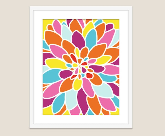 Dahlia Flower Art Print - Modern Flower Home Decor - Fiesta Colors - Abstract Flower Art