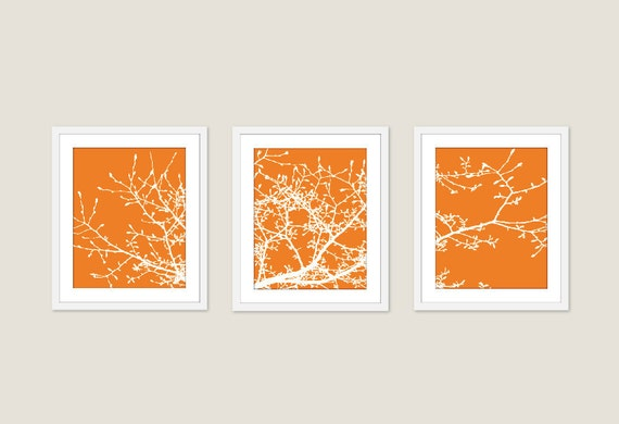 Magnolia Tree Branches - Digital Print Set - Tangerine Orange - Original Modern - Woodland - Home Decor