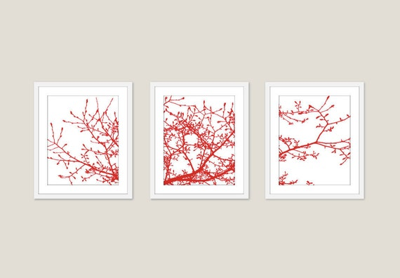 Magnolia Tree Branches Art Prints -  Set of 3 - Red and White Branches - Red Magnolia Tree Wall Art  - Modern Branches Prints - Aldari Art