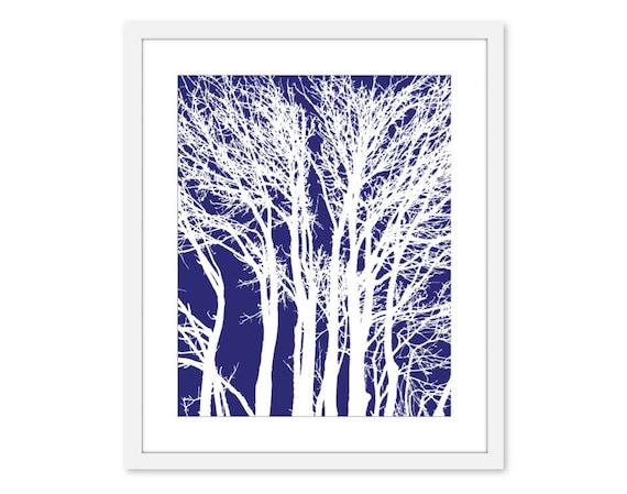 Modern Trees - Wall Art - Branches- Home Decor - Navy Blue - Neutral - Woodland -Original - Under 20