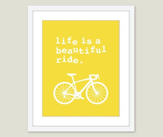 Bicycle Art Print - Bicycle Wall Art - Life is a beautiful ride Print - Quite Print - Bike Print - Bike Wall Art - Modern Decor - AldariArt