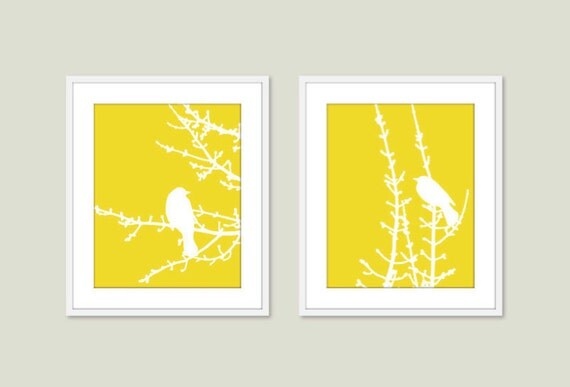 Birds and Branches - Digital Print Set - Yellow Lemon Zest - Modern Wall Art - Woodland -  Spring Summer Home Bird on Twig Decor