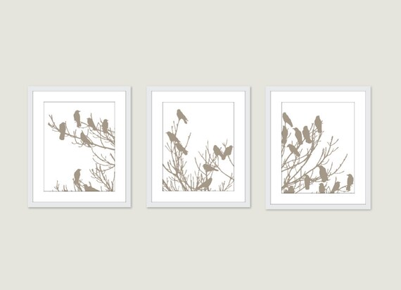 Birds on Tree - Digital Print Set - Taupe Neutral Muted Color - Modern Home Decor- Woodland - Room Decorating Ideas - Perched Birds Art