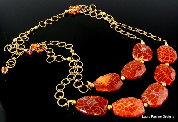 """LP 77 Beautiful Crab Fire Agate Nuggets and 14 KGF Chain Statement Necklace  """" One Of A Kind """""""