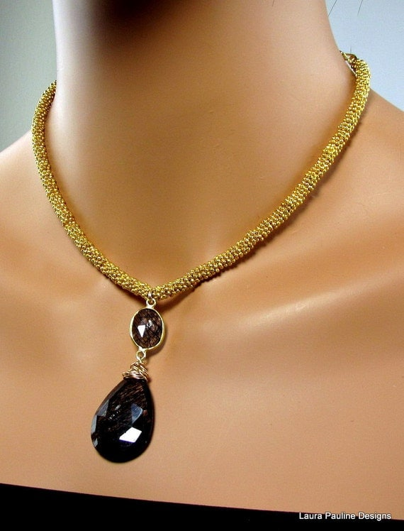 LP 635 Vermeil And Black Tourmalinated Quartz Teardrop One Of A Kind Necklace