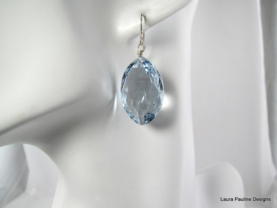 LP 619 Sky Blue Oval Faceted Topaz Drop Earrings...For A Special Someone