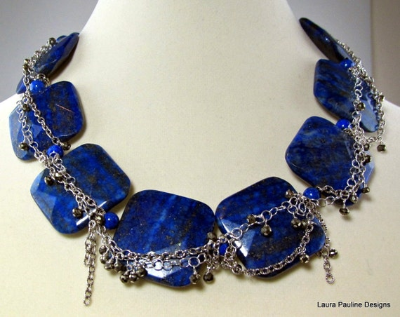 LP 674 Bright Blue Lapis Squares And Sterling Silver Chain Necklace