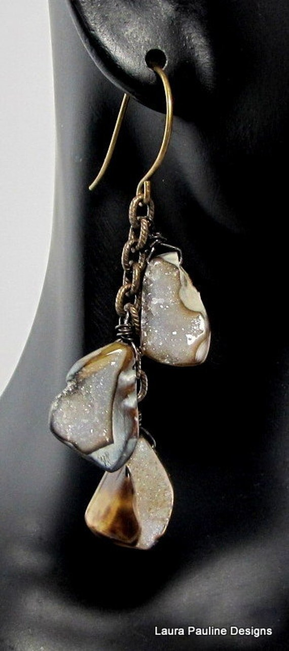 LP 734   Tri-color Brown Agate Drusy One Of A Kind Earrings