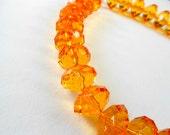 Bright Orange Chunky Crystal Necklace Handmade FUN