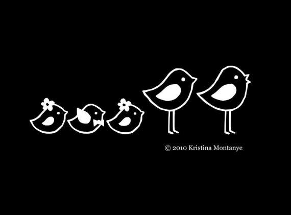 Custom Bird Family Car Window Decals