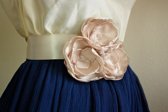 Champagne Bridesmaid Rose Flower Belt Sash (Style No. 10)
