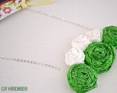 """Spring Green and White Rosette Necklace """"Sprout"""""""